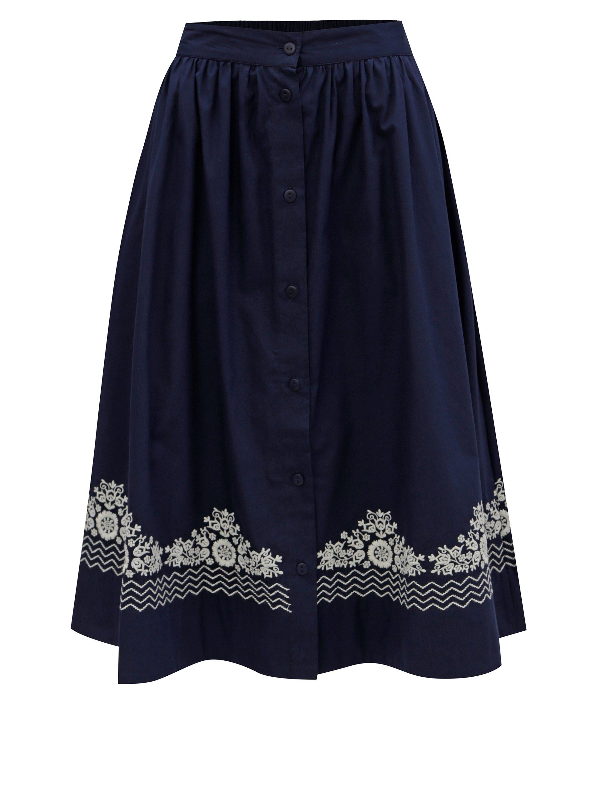 245dd8131 Tmavomodrá sukňa s gombíkmi a výšivkou French Connection Rhodea ...