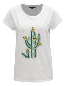 Biele tričko s flitrovanou výšivkou French Connection Cactus