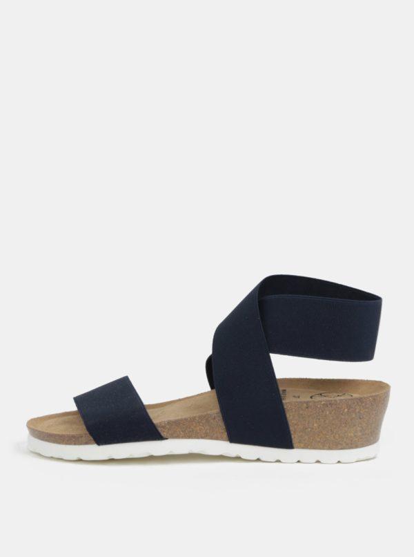 Tmavomodré sandále na kline s elastickými pásikmi OJJU