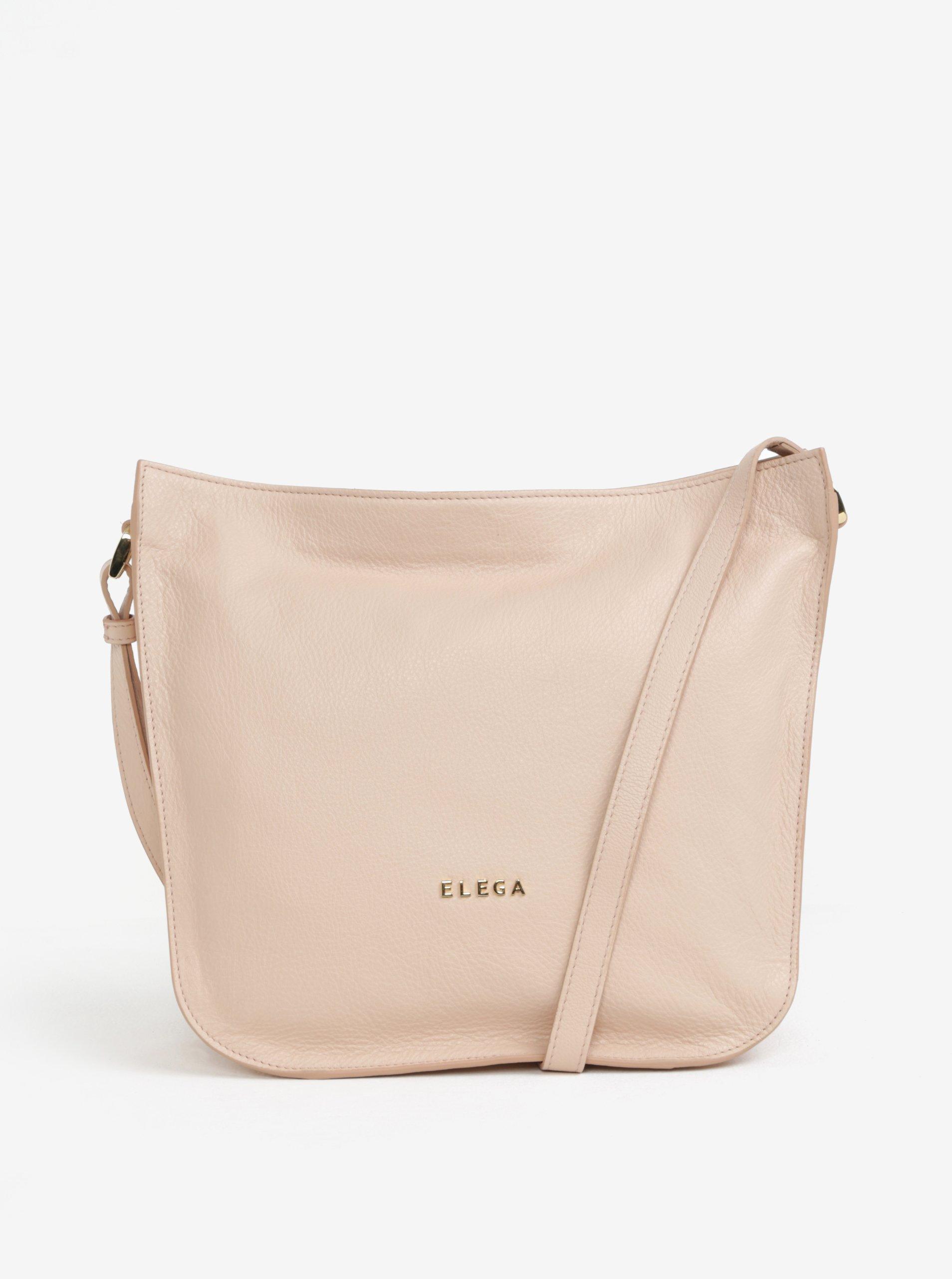 1637930a87 Béžová veľká kožená crossbody kabelka ELEGA Hobie