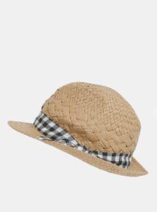 Svetlohnedý klobúk s kockovanou stuhou Dorothy Perkins