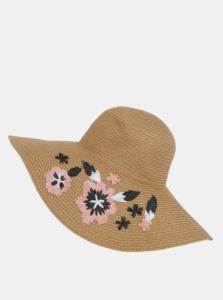 Svetlohnedý klobúk so slamenou výšivkou Dorothy Perkins