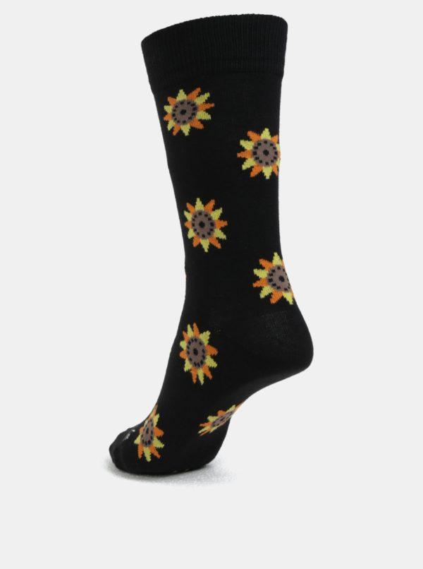 Béžovo-čierne unisex ponožky s motívom slnečníc Fusakle Slnečnice