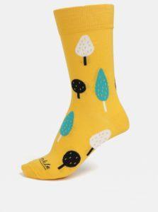 Žlté unisex ponožky s motívom stromov Fusakle Ovocný sad