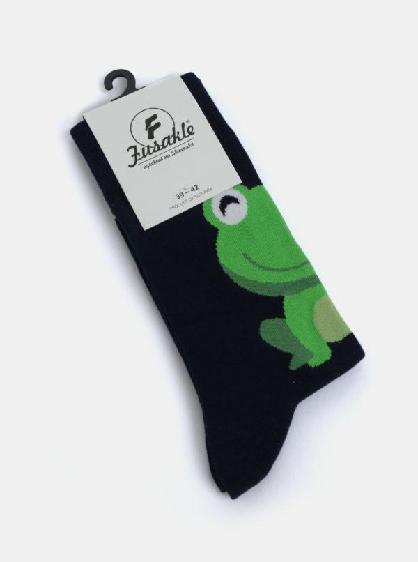 Tmavomodré unisex ponožky s motívom žaby Fusakle Žaba neblázni