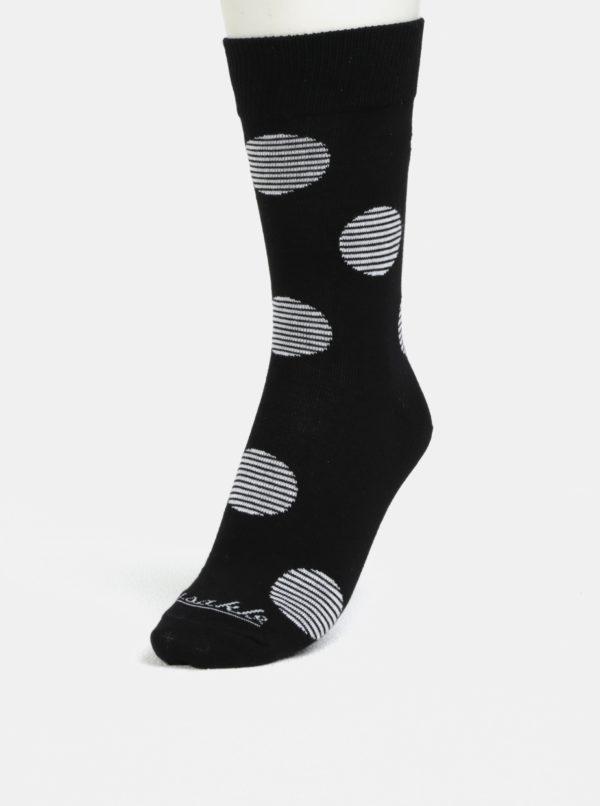 Bielo-čierne unisex bodkované ponožky Fusakle Biele diery
