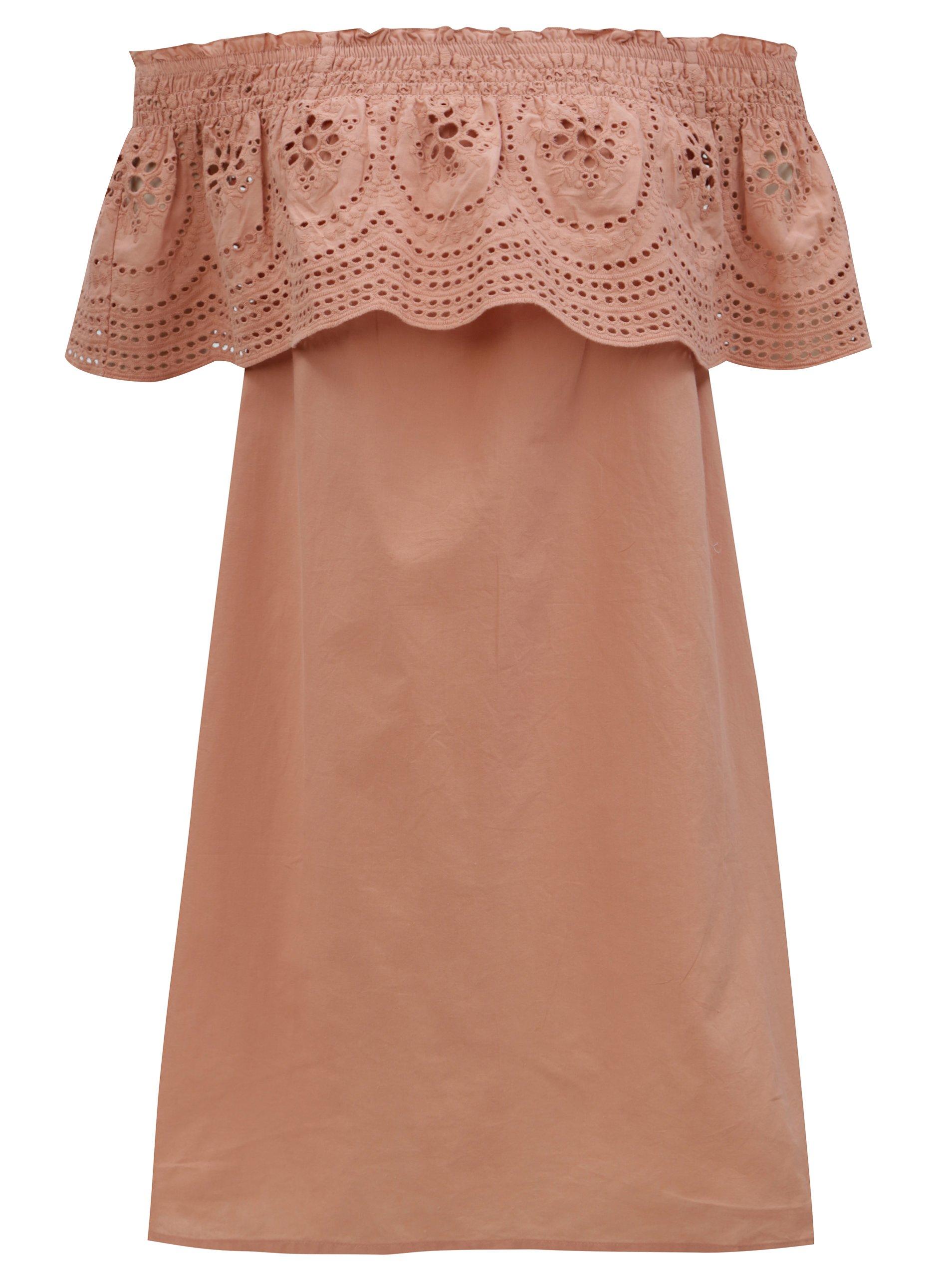Staroružové šaty s odhalenými ramenami a madeirou Dorothy Perkins ... 4d67ca05137
