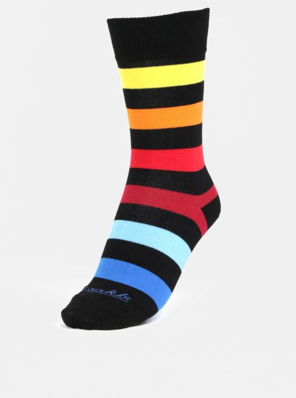 Čierne unisex pruhované ponožky Fusakle Extrovert temný