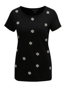 Čierne tričko s kvetovanou výšivkou Dorothy Perkins