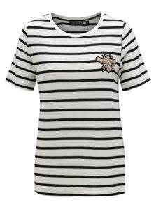 Čierno-biele pruhované tričko s výšivkou Dorothy Perkins