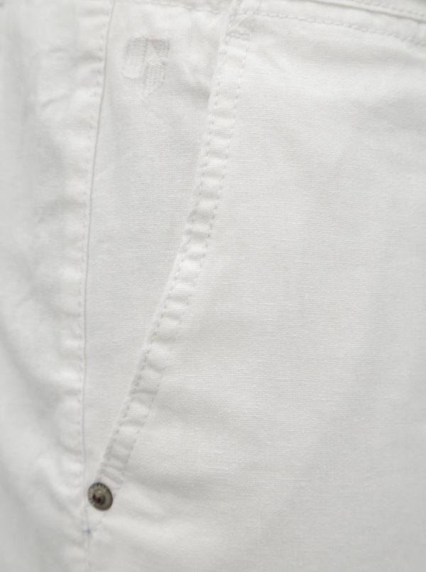 Biele pánske ľanové kraťasy Garcia Jeans