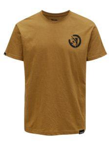 Svetlohnedé pánske tričko s potlačou na chrbte MEATFLY Bruce