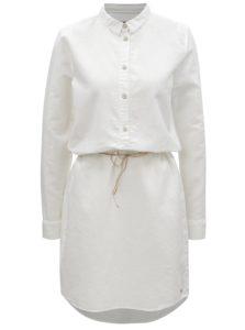 Biele košeľové ľanové šaty s dlhým rukávom Garcia Jeans