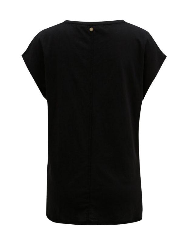 Čierne dámske tričko s potlačou a flitrami Garcia Jeans