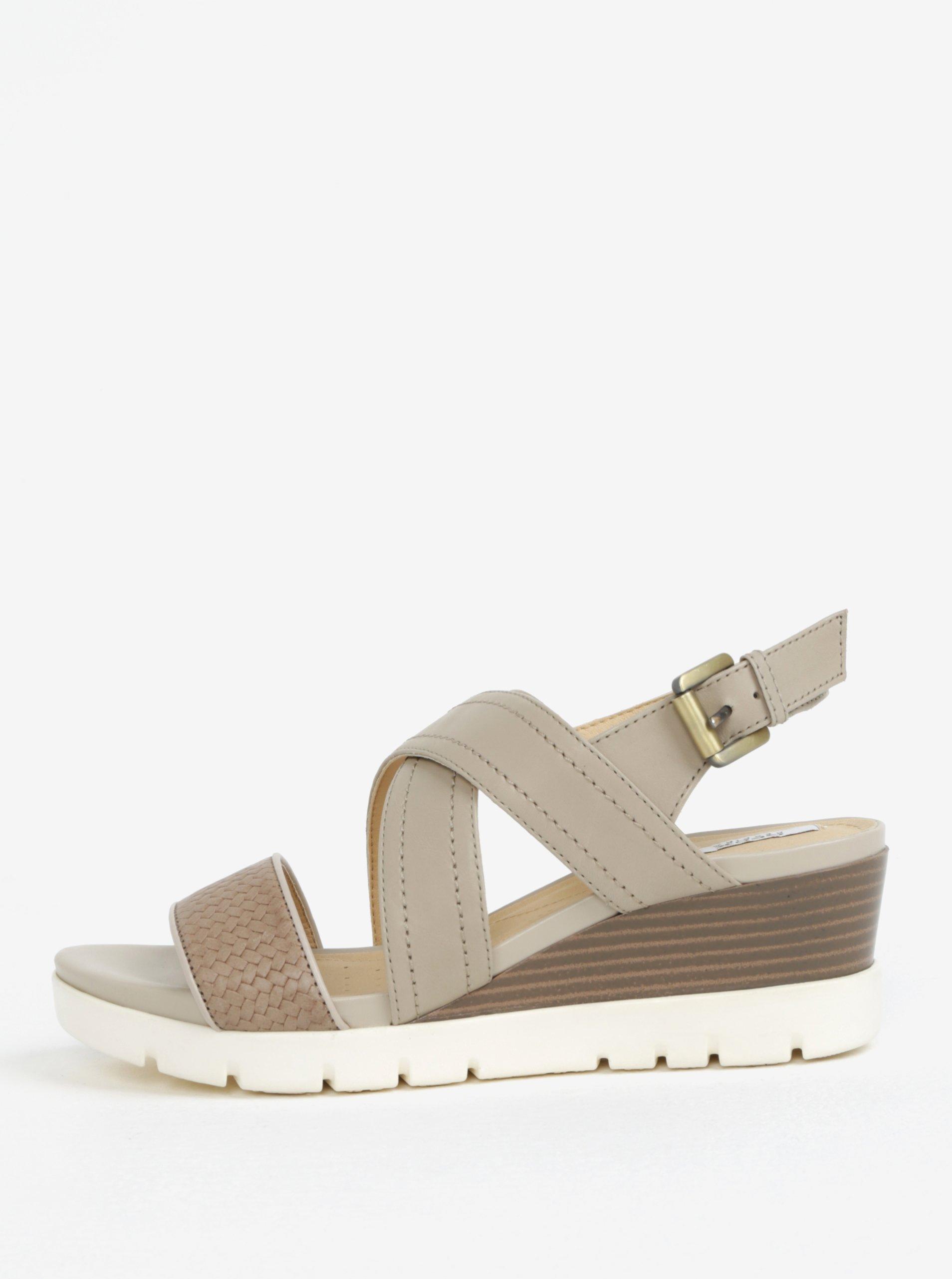 4b9900436614 Krémové kožené dámske sandále na klinovom podpätku Geox Marykarmen ...
