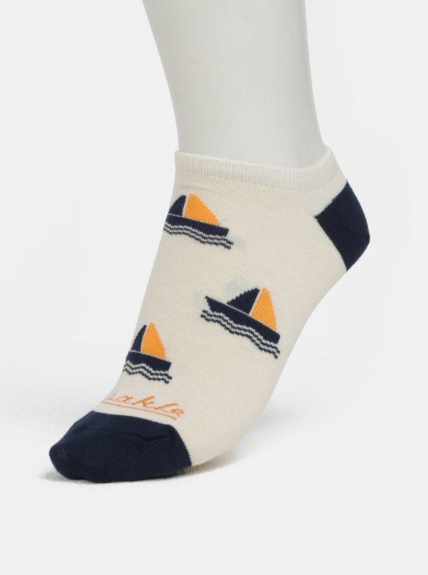 Krémové unisex členkové ponožky Fusakle Na more