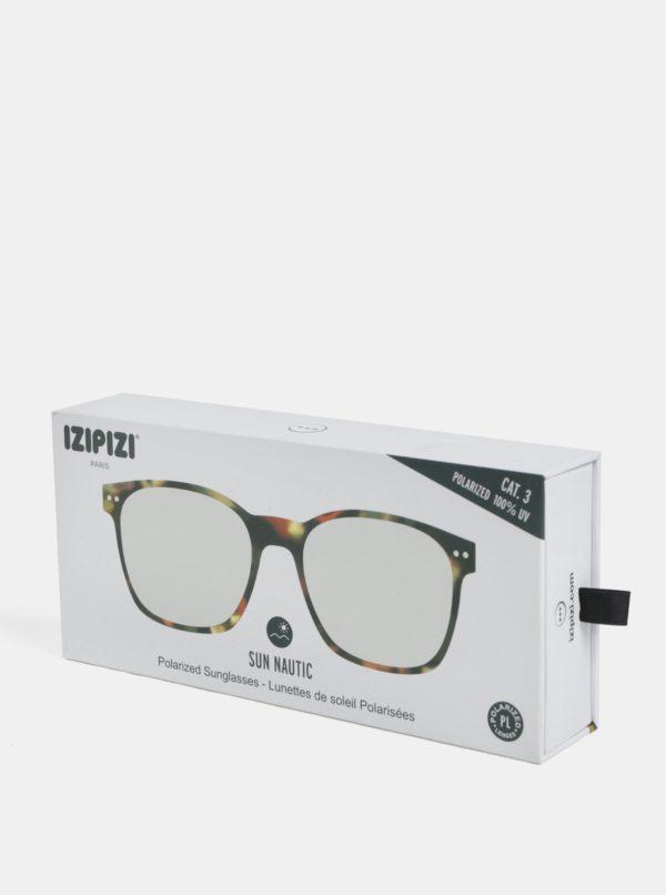 Tmavohnedé unisex vzorované polarizačné okuliare IZIPIZI
