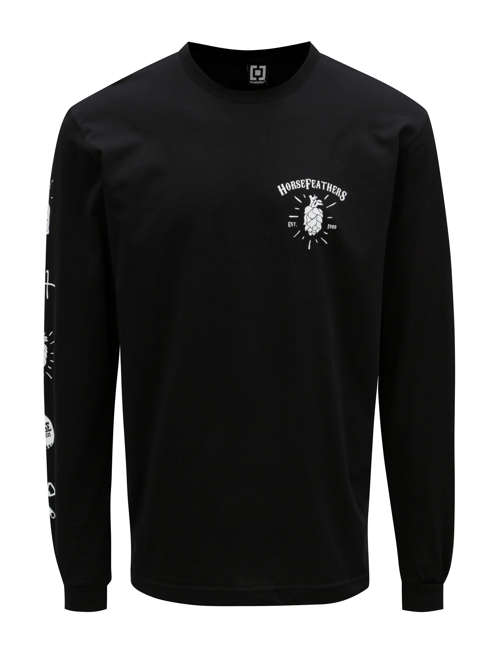 0dc9a33d6b Čierne pánske tričko s dlhým rukávom Horsefeathers Hoppy