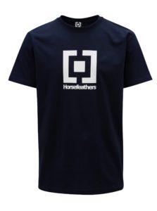Tmavomodré pánske tričko s potlačou Horsefeathers Base
