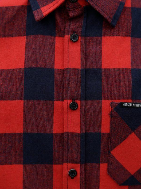 Červená pánska kockovaná košeľa Horsefeathers Rashid