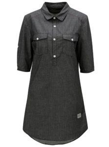 Tmavosivé bodkované košeľové šaty Horsefeathers Bess