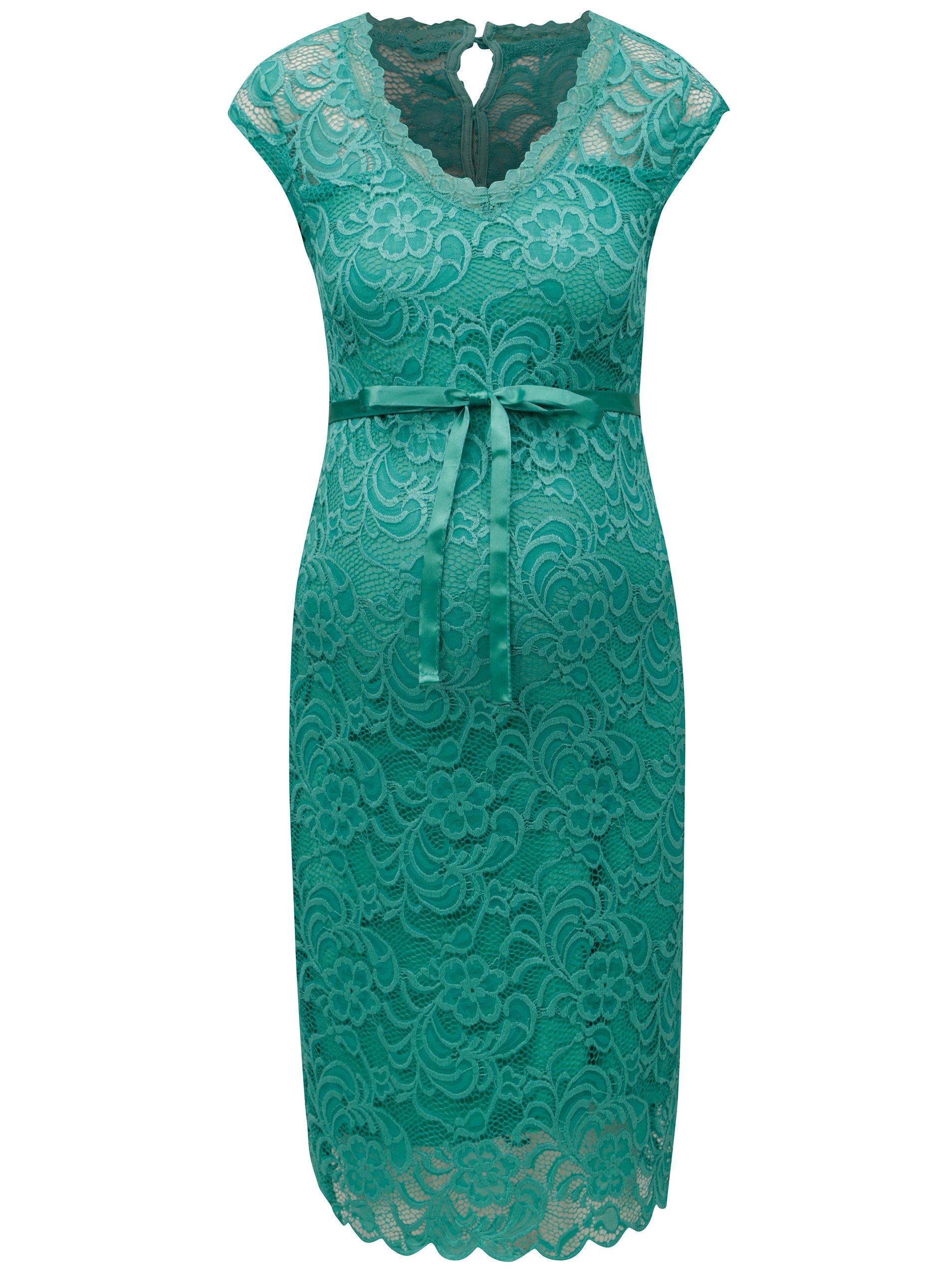 e328b08c332f Zelené čipkované tehotenské šaty Mama.licious New Mivana