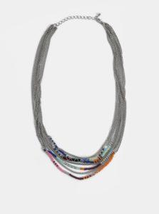 Náhrdelník v striebornej farbe s farebnými korálkami Pieces Dora