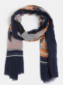Oranžovo-modrá vzorovaná šatka Pieces Dawn