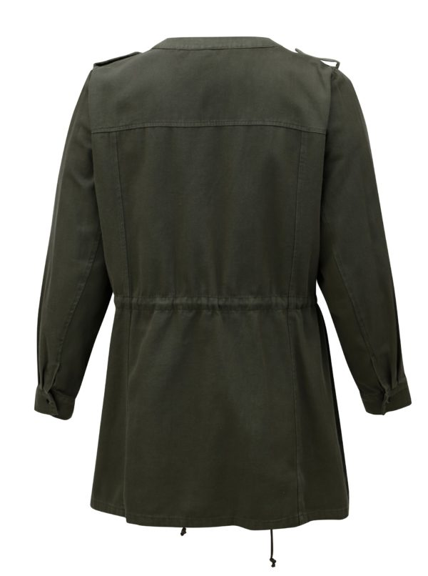 Kaki tenká dámska bunda s aplikáciou Zizzi