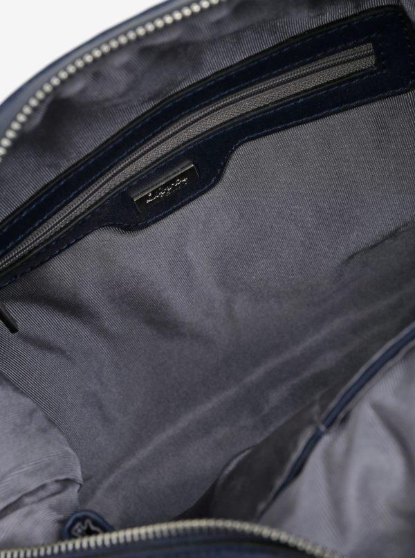 Tmavomodrá kožená kabelka s metalickými detailmi Liberty by Gionni Patricie