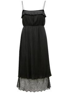 Čierne plisované šaty s čipkou VILA Vivida