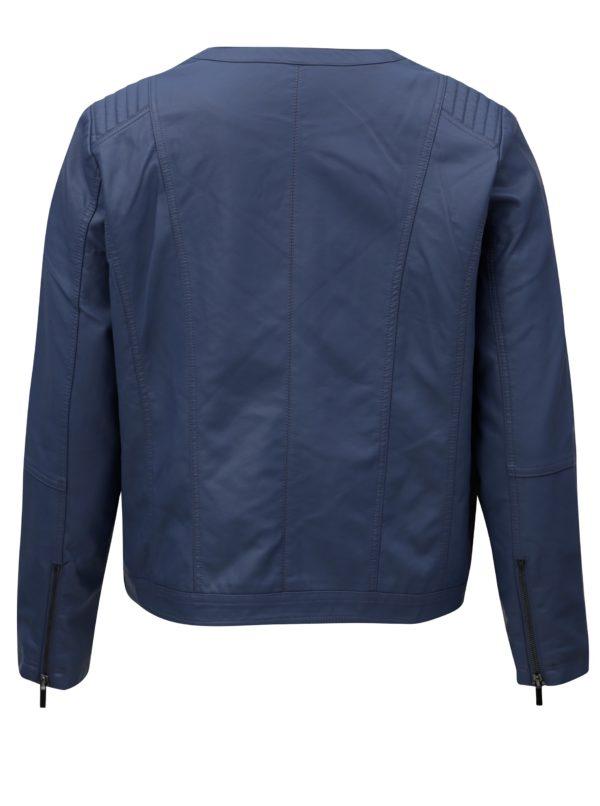 Modrá dámska koženková bunda Zizzi