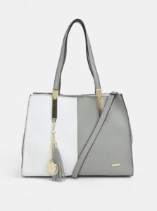 Bielo-sivá kabelka s detailmi v zlatej farbe Gionni Zelene
