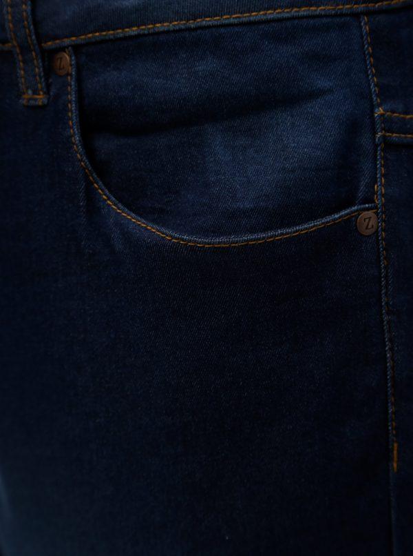 Tmavomodré rifľové regular slim kraťasy Zizzi