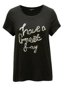 Čierne tričko s výšivkou VERO MODA Fally