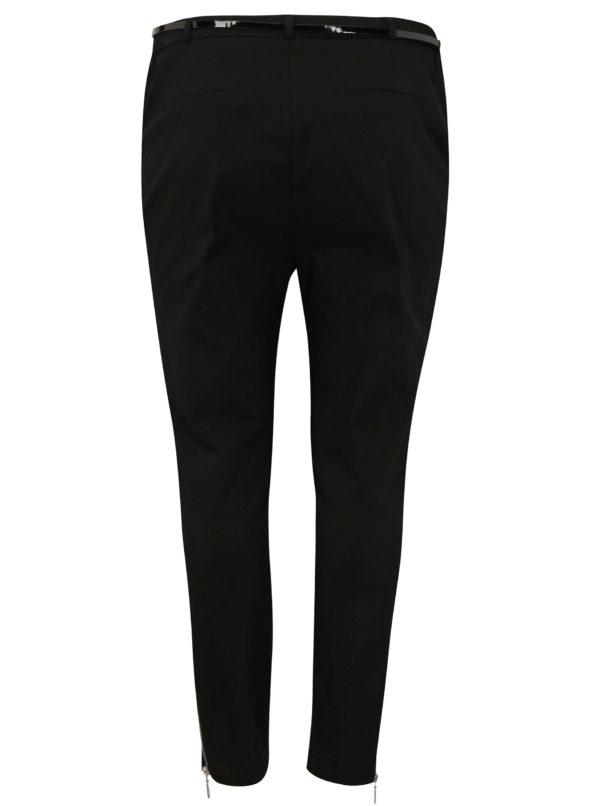 Čierne skrátené nohavice s opaskom a vysokým pásom simply be.