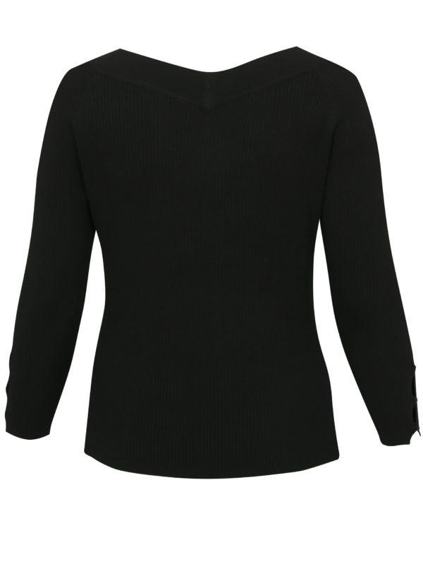 Čierny tenký sveter s véčkovým výstrihom simply be.