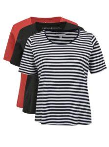 Súprava troch tričiek v sivej a oranžovej farbe simply be.