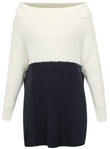Modro-krémové svetrové šaty s rolákom simply be.