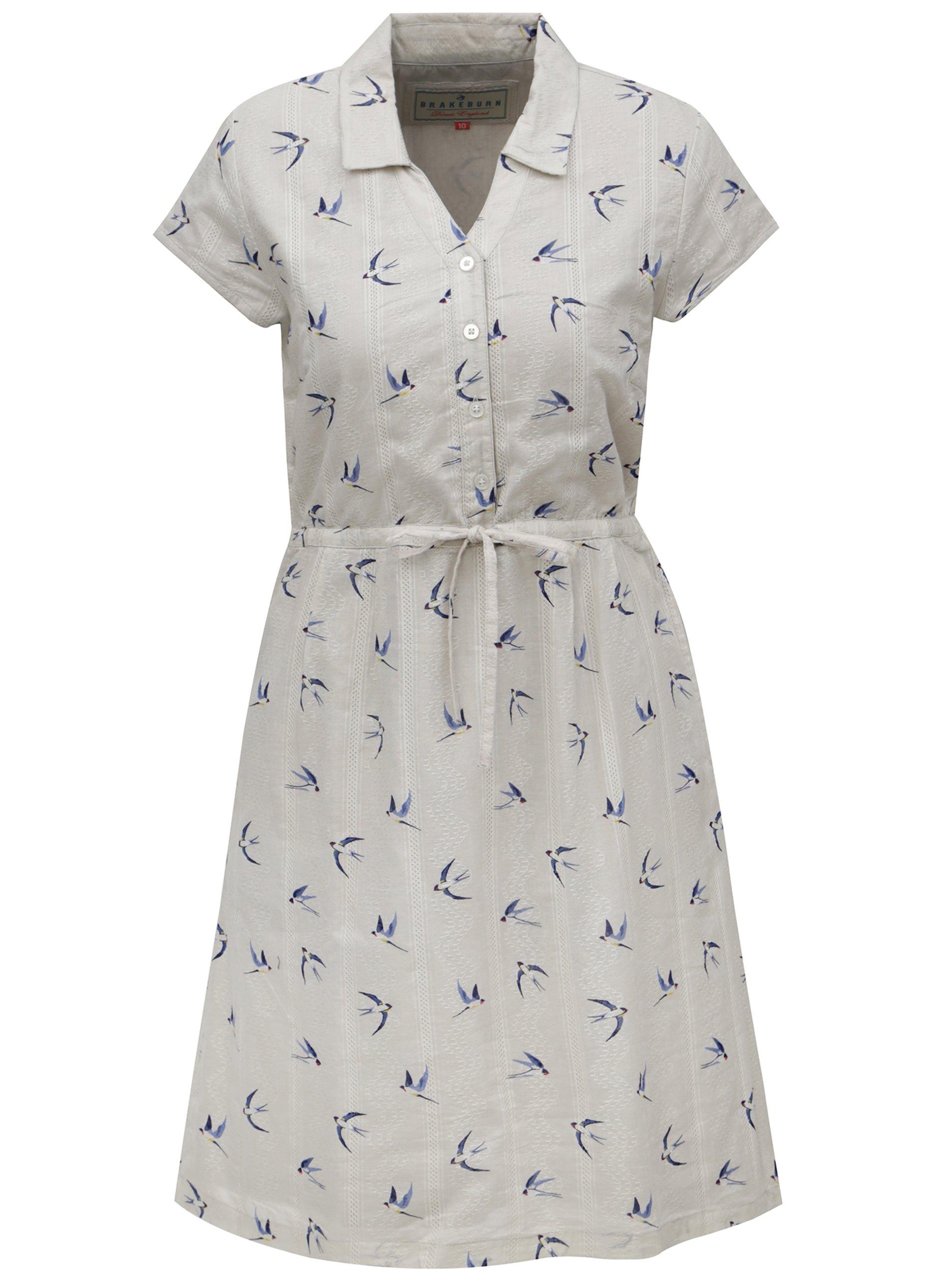 45bb7624f88 Béžové košeľové šaty s motívom vtáčikov Brakeburn