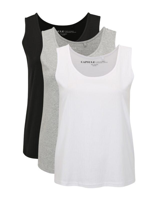 Súprava troch tielok v čiernej a bielej farbe simply be.