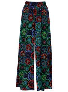 Modro–čierne voľné vzorované nohavice Desigual Janelle