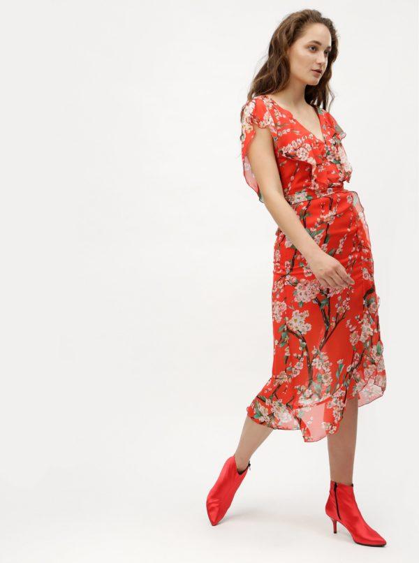Červené kvetované midišaty MISSGUIDED