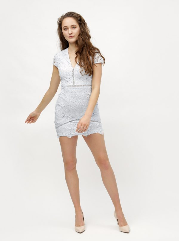 Svetlomodré čipkované puzdrové šaty MISSGUIDED