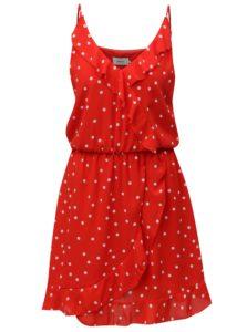 Červené bodkované šaty s volánmi ONLY Rubbi