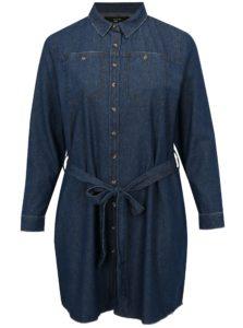Modré rifľové košeľové šaty s opaskom simply be.