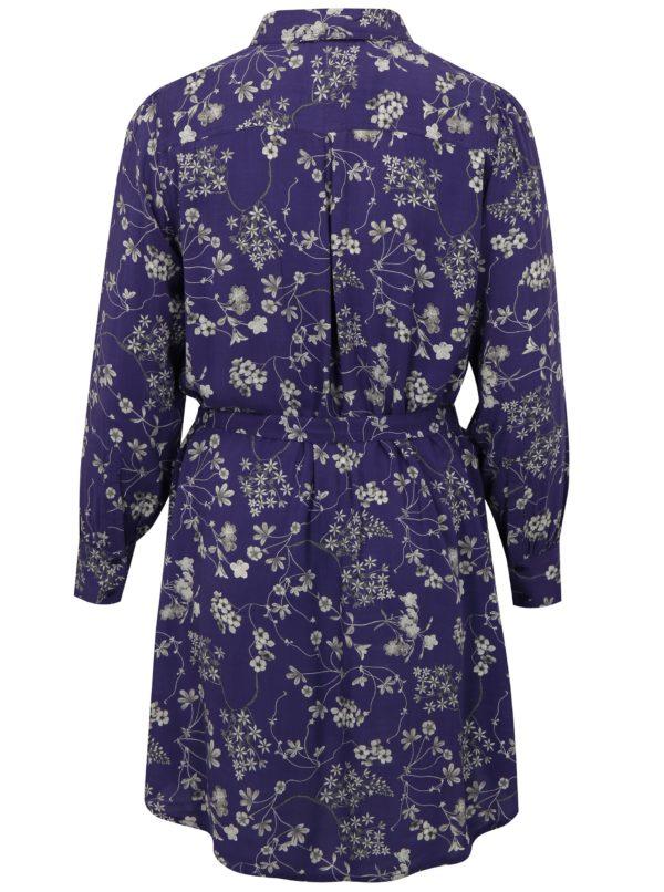 Fialové kvetované šaty s dlhým rukávom simply be.