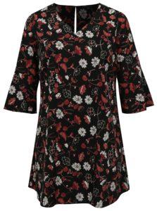 Čierne kvetované šaty s volánmi na rukávoch simply be.
