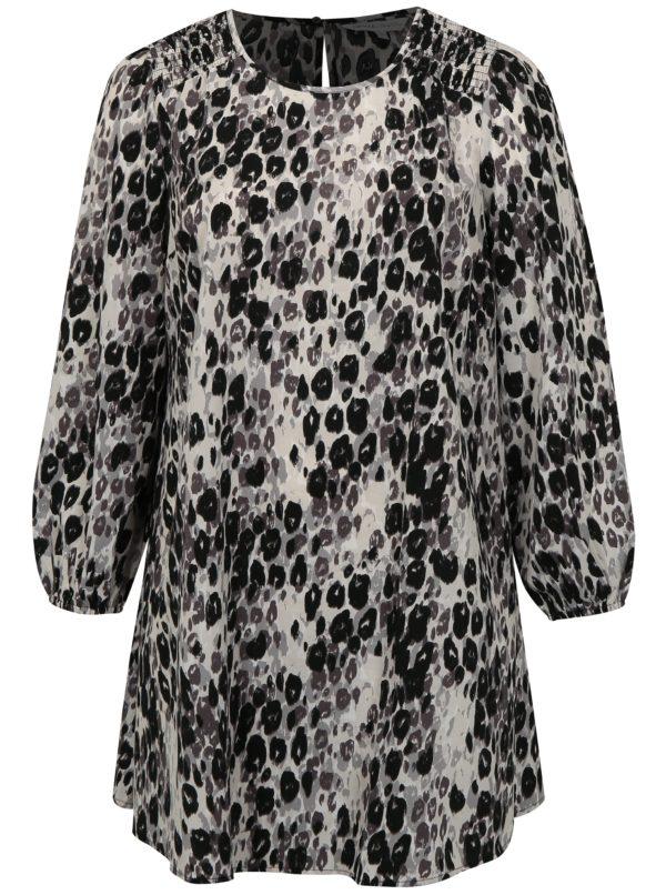 Čierno-biele leopardie šaty s dlhým rukávom simply be.