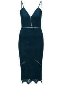 Modrozelené puzdrové čipkované šaty na ramienka MISSGUIDED